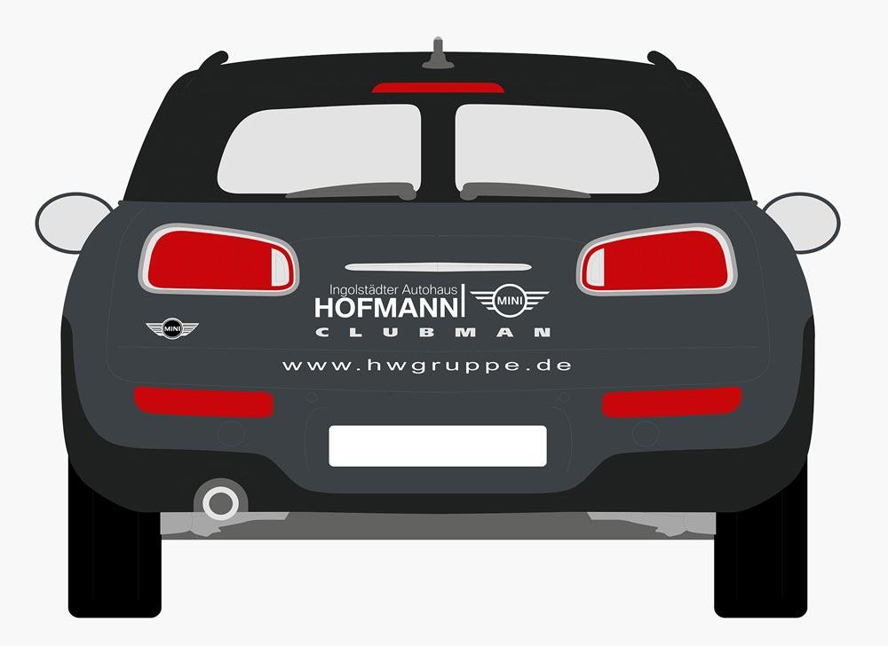 zentrale Logo platzierung auf Kofferraumdeckel des Mini's