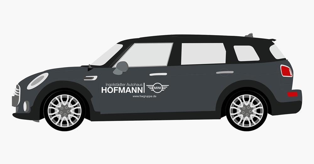 Fahrzeug Design mit Logo von Autohaus Hoffmann seitlich, Mini PKW, seitlich