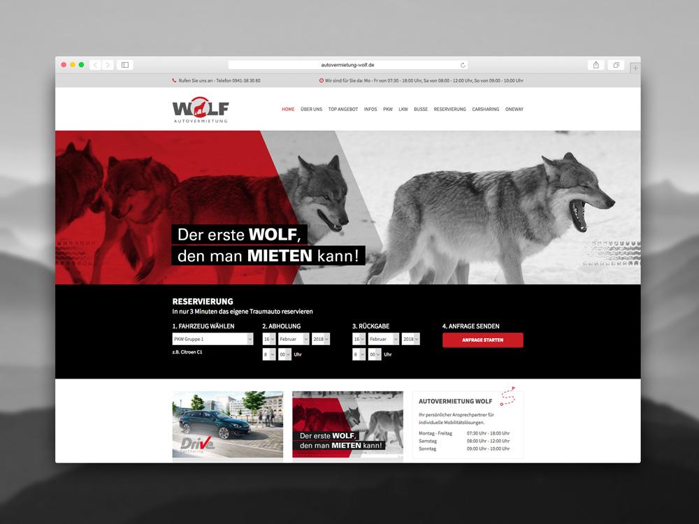 Internetseitengestaltung und Erstellung von Renoarde für Autovermietung Wolf