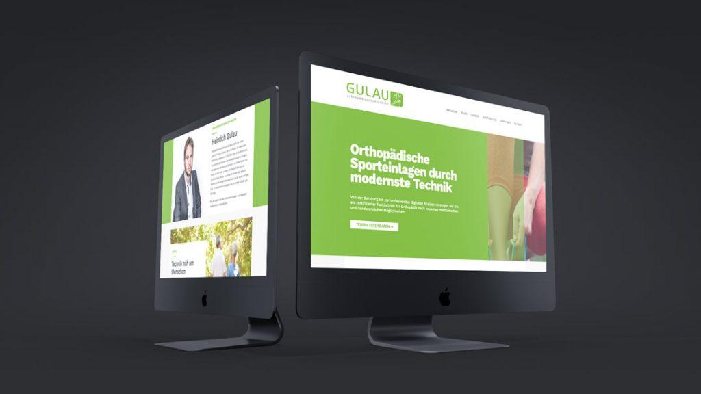 Mockup von Gulau Internetseite und Logo; von Renoarde gestaltet,