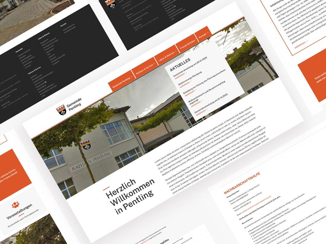 Internetseitengestaltung von Renoarde fuer Gemeinde Pentling